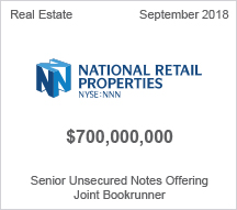 National Retail Properties $700 million Senior Unsecured Notes Offering - Joint Bookrunner