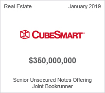 CubeSmart - $350 million Senior Unsecured Notes Offering - Joint Bookrunner