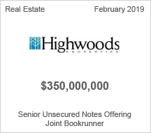 Highwoods - $350 million Senior Unsecured Notes Offering - Joint Bookrunner