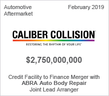 Caliber Collision - $2.75 billion Credit Facility to Finance Merger with ABRA Auto Body Repair - Joint Lead Arranger
